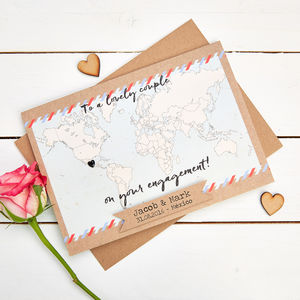 Map Engagement Card Personalised World Map - wedding, engagement & anniversary cards
