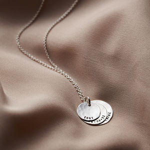 Personalised Hammered Family Disc Necklace