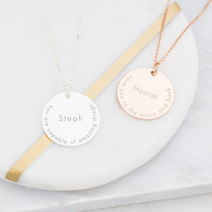 Imogen Inspirational Quote Personalised Necklace - jewellery sale