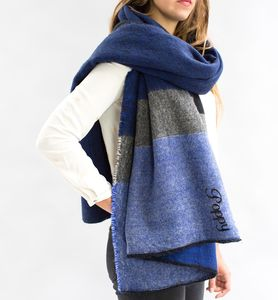 Colour Block Blanket Scarf In Navy, Grey And Black