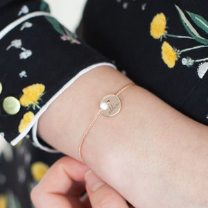 Jessie Personalised Initial Disc And Pearl Bracelet - bridesmaid gifts