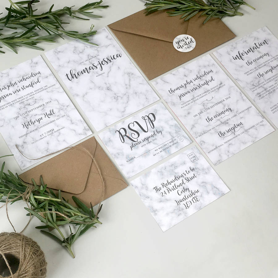 marble wedding invitation stationery with stickers by the portland ...