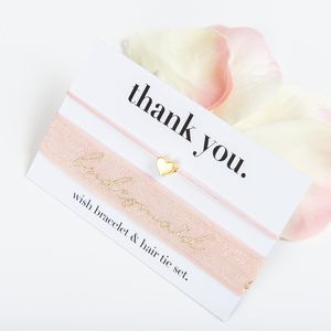 Thank You Bridesmaid Wish Bracelet And Hair Tie Set - wedding thank you gifts