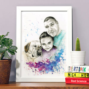 Personalised Illustrated Watercolour Couples Portrait - new in prints & art