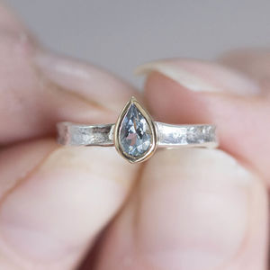 Pear Shaped Aquamarine Silver And Solid Gold Alice Ring - gold