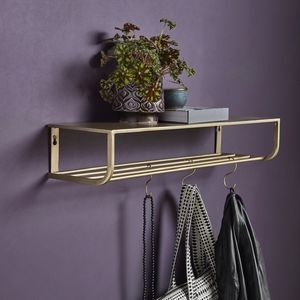 Gold Metal Shelves With Five Hooks - shelves
