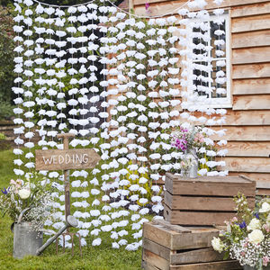 White Floral Hanging Backdrop Decoration