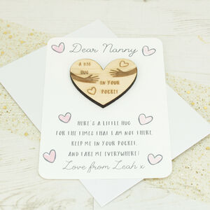 Personalised Heart 'Pocket Hug' Token And Card