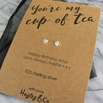 'You're My Cup Of Tea' Sterling Silver Earrings
