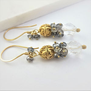 Bridal White Gray Topaz Cluster Gold Earrings