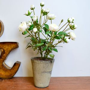 Faux White Rose Shrub In Pot