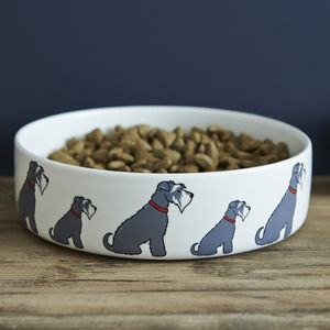 Grey Schnauzer Dog Bowl - dogs