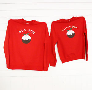 'Big Pud Little Pud' Couples Christmas Jumpers - children's dad & me sets
