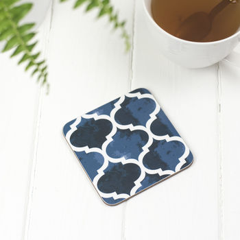 Isabel Coaster, Blue Geometric Pattern