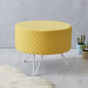 Yellow Round Mid Century Footstool With Metal Legs - living room