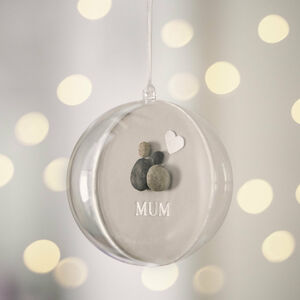 Personalised Pebble Mum Christmas Bauble