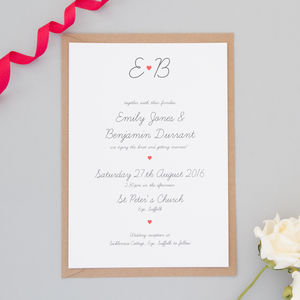 Red Heart Wedding Invitation And RSVP - wedding stationery