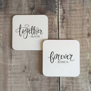 Personalised 'Together' 'Forever' Couples Coaster Set