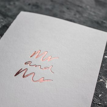 'Mr And Mr' Rose Gold Foil Wedding Card
