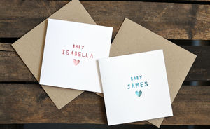 Personalised New Baby Name Paper Cut Card