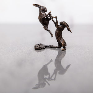 Miniature Bronze Boxing Hares Statue