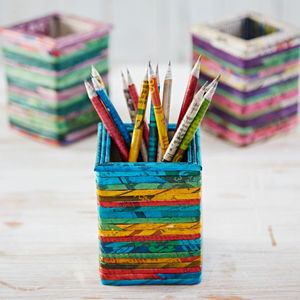 Recycled Newspaper Square Pencil Holder - desk accessories
