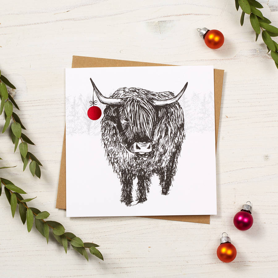 highland cow christmas card by cherith harrison | notonthehighstreet.com