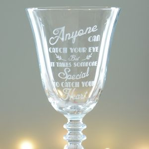 Catch Your Heart Wine Glass
