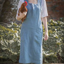 Parisian Blue Linen Artisan Cross Over Apron