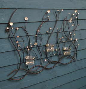 Glass Bead Candle Garden Wall Art Sculpture - sculptures & ornaments
