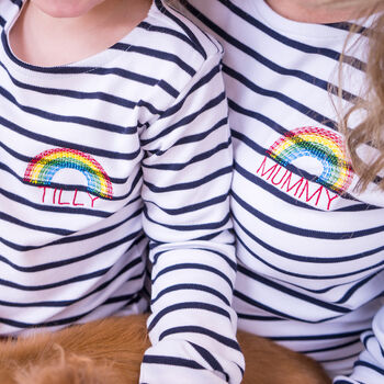 Personalised Mummy And Me Rainbow Bretons
