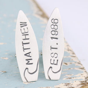 Personalised Silver Surfboard Cufflinks - men's accessories