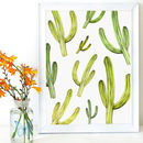 Playful Cactus Repeat White And Green Giclée Art Print