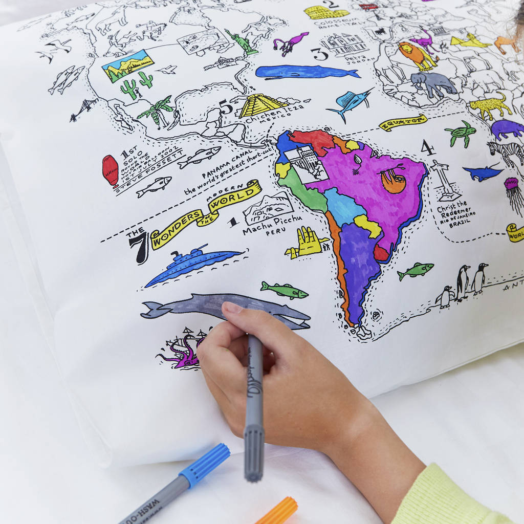 Color Your Own World Map.Doodle World Map Pillowcase Color Your Own Pillow Case Coloring