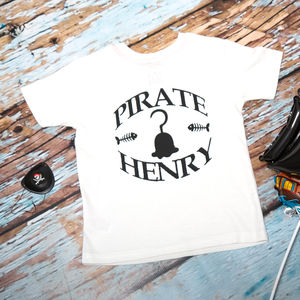 Personalised Pirate Hook Baby And Child's T Shirt - the monochrome edit