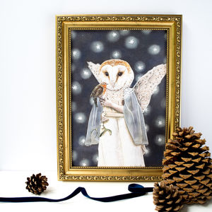 Illustration Print Of A Barn Owl Angel