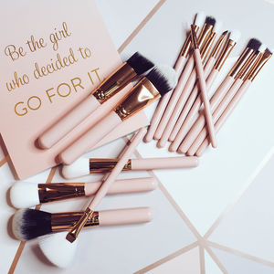 15pc Rose Gold Brush Set - gifts for her