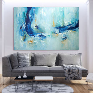 A Moment Large Blue Original Abstract Painting - canvas prints & art