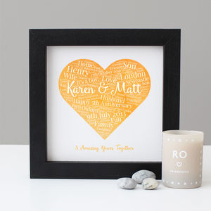 Personalised 5th Anniversary Watercolour Gift - family & home