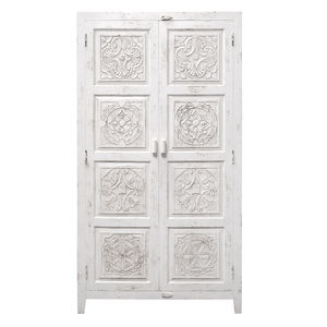 Hand Carved Wooden Cabinet In Antique White - furniture