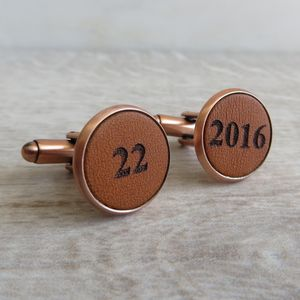 Copper Engraved Leather Cufflinks