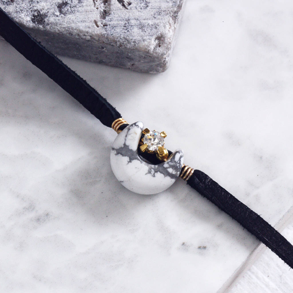 Luna Marble Crescent Moon Leather Choker