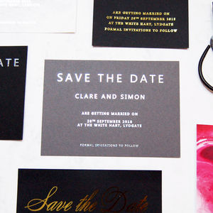 Grey And Silver Foil Wedding Save The Dates