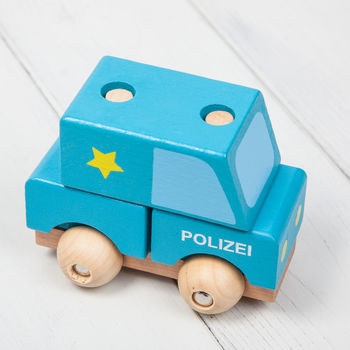 Wooden Stacking Toy Police Cars