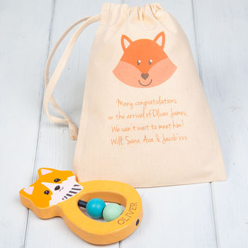 Fox Personalised Wooden Teething Ring And Gift Bag