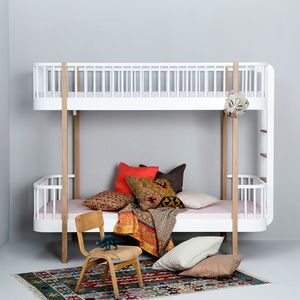 Children's High Loft Bed In White And Oak With Storage