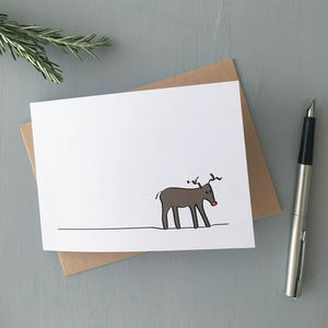 Reindeer Cards, Pack Of Four