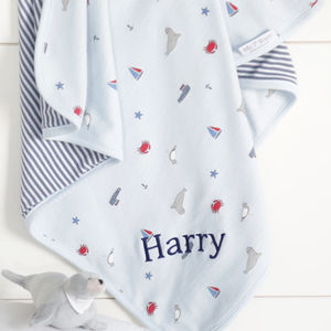 Personalised Nautical Print Baby Blanket - new in home