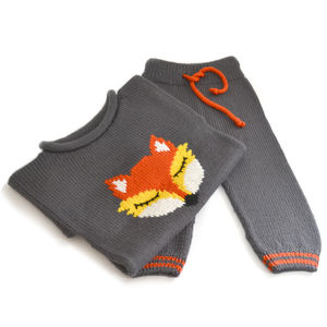 Handmade Knitted Fox Jumper And Knitted Bloomers