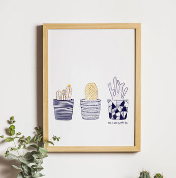 Trio Of Cacti Giclee Print For The Home